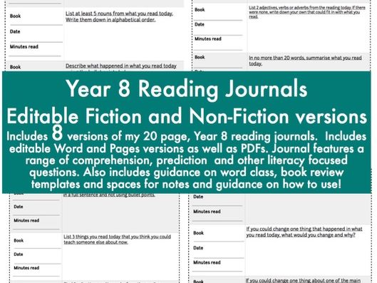 Editable Reading Journals/Diary - fiction and non-fiction for Year 8