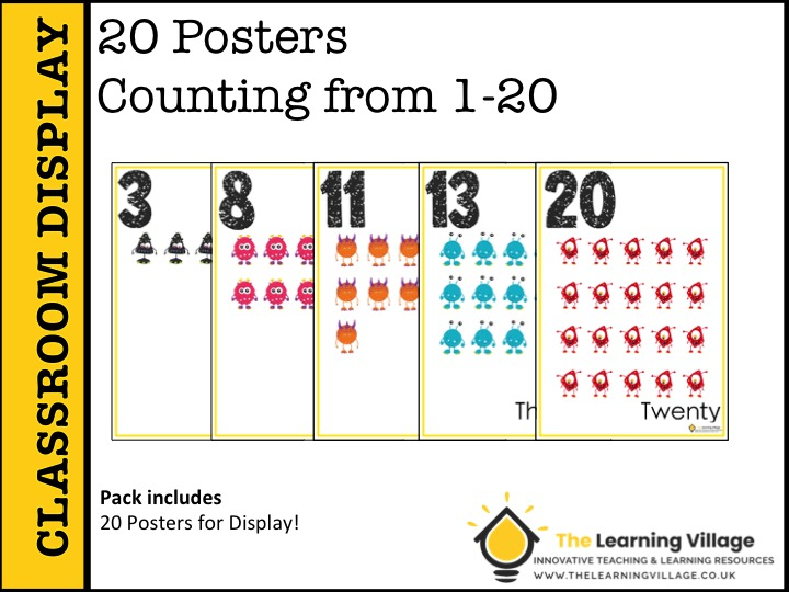 20 Posters Counting from 1-20!
