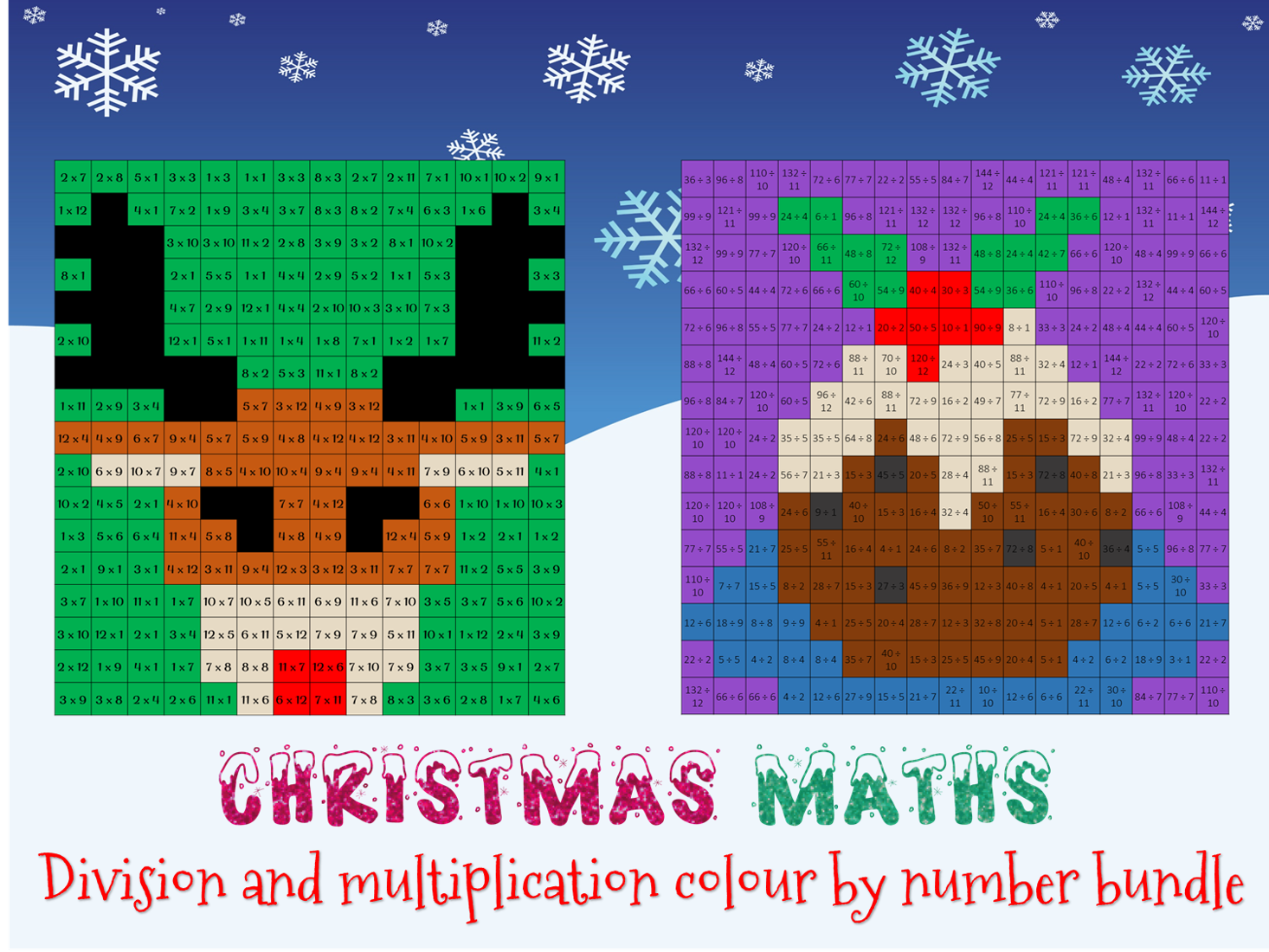 Christmas Maths - colour by number bundle (x and ÷)
