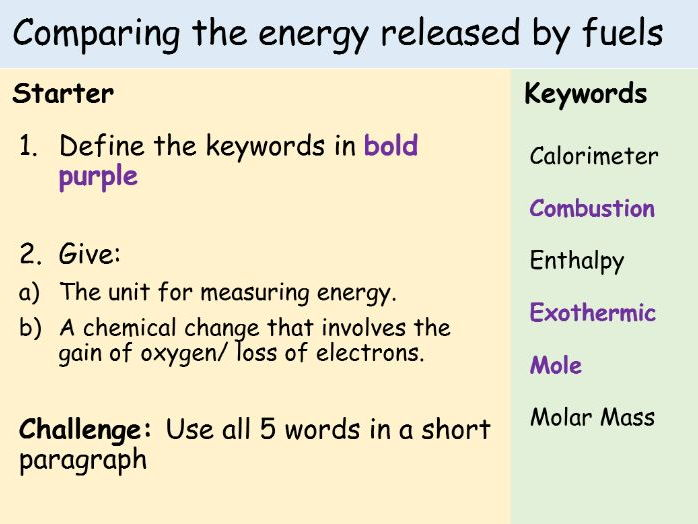 Comparing the energy released by fuels: Full Lesson