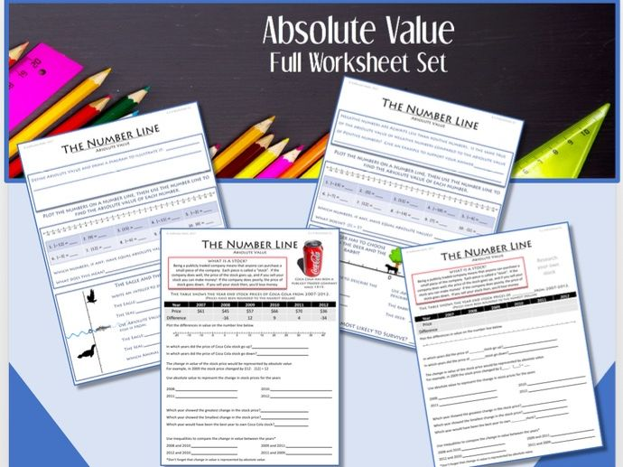 The Number Line (Part 3):  ABSOLUTE VALUE  --Full Worksheet Set