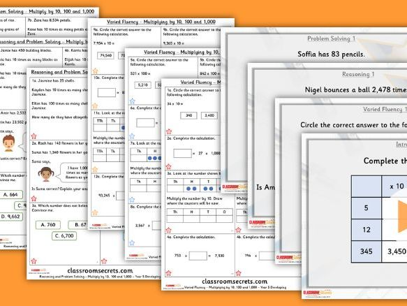 Year 5 Multiply by 10, 100 and 1,000 Autumn Block 4 Step 8 Maths Lesson Pack