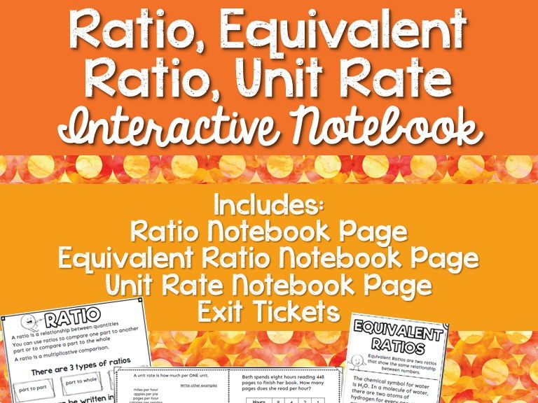 Ratio Equivalent Ratios and Unit Rates Interactive Math Notebook