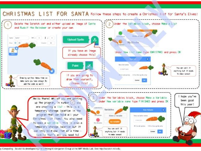 Christmas List in Scratch