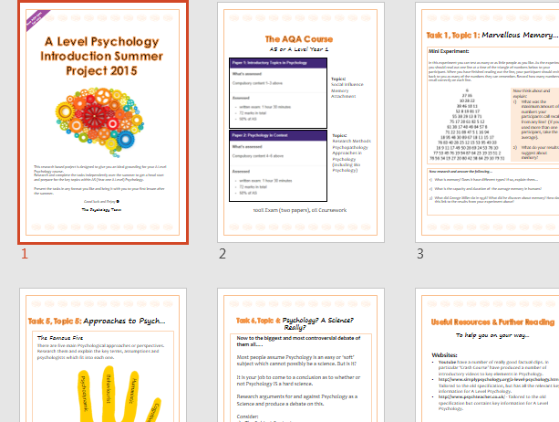 A Level Psychology Introductory Summer Project