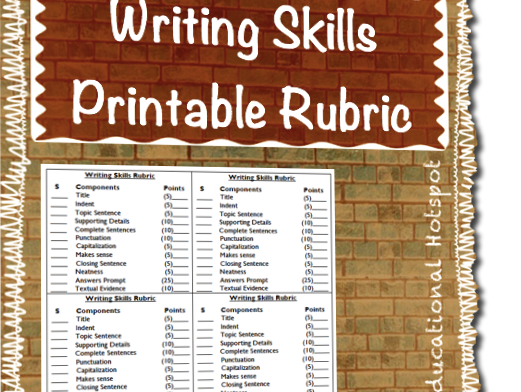 Writing Skills Printable Rubric