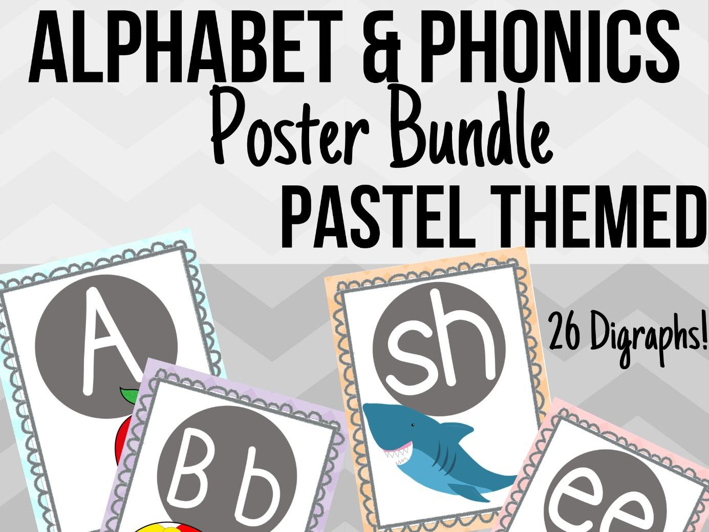 Pastel Alphabet & Phonics Poster Bundle
