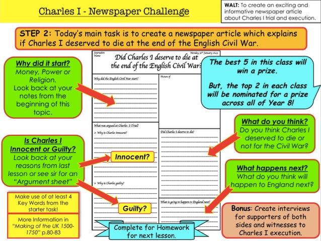 English Civil War Charles I Execution Newspaper Challenge