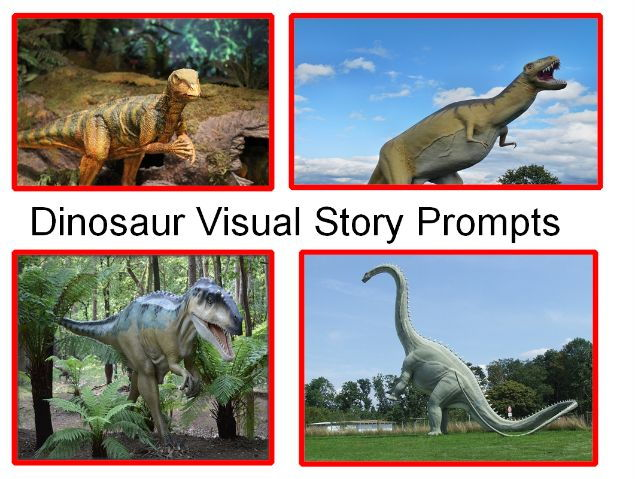 30 photos of photos  dinosaur visual story prompts and 31 teaching activities using these