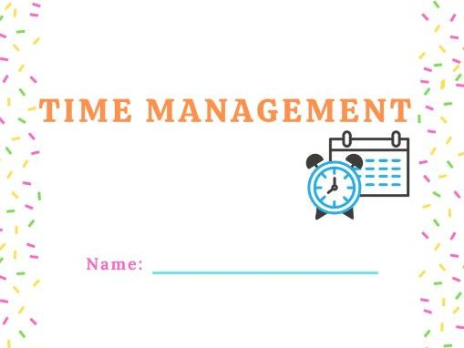 Time Management strategy worksheet printable helpful for distance learning