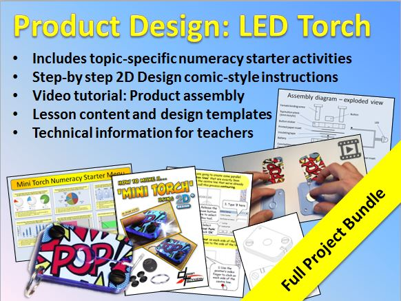 LED Mini Torch Project Bundle for KS3 D&T Product Design