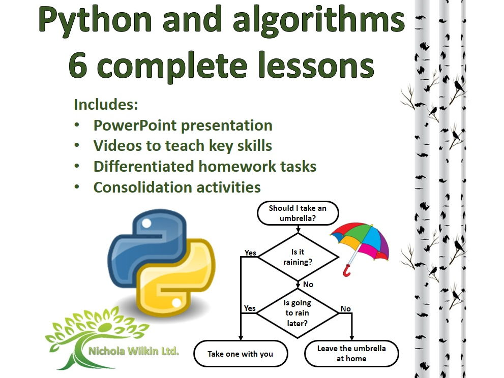 Python and Algorithms set of 6 complete lessons (GCSE Computer Science and KS3 Computing)