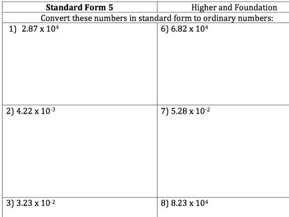GCSE Maths - Standard Form to Ordinary Numbers - 30 Questions and Answers