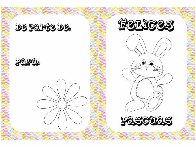 Spanish Easter colouring cards 4