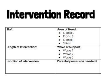 Intervention Sheet by @TeacherToolkit