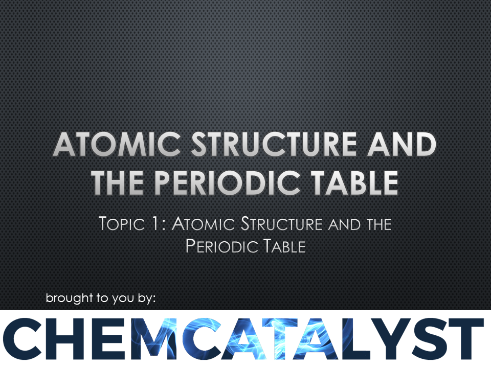 EdExcel – AS Chemistry – Topic 1: 'Atomic Structure and The Periodic Table'