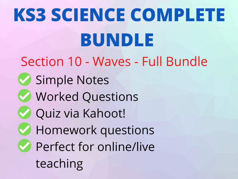 KS3 WAVES - FULL BUNDLE - Full Online Lesson incl Kahoot!