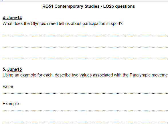 LO2b questions and answers - OCR Cambridge National Sports Studies RO51