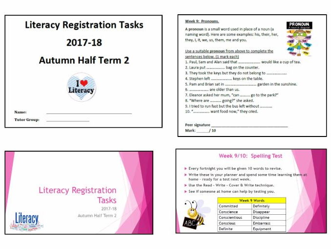 Literacy Activities - Teacher presentation and accompanying student booklet (HT2 wks 9 to 15)