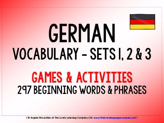 GERMAN VOCABULARY SETS 1, 2 & 3 - GAMES & ACTIVITIES