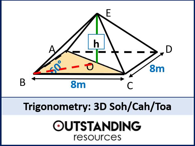 Trigonometry 3 - 3D Trig (soh cah toa) + worksheet