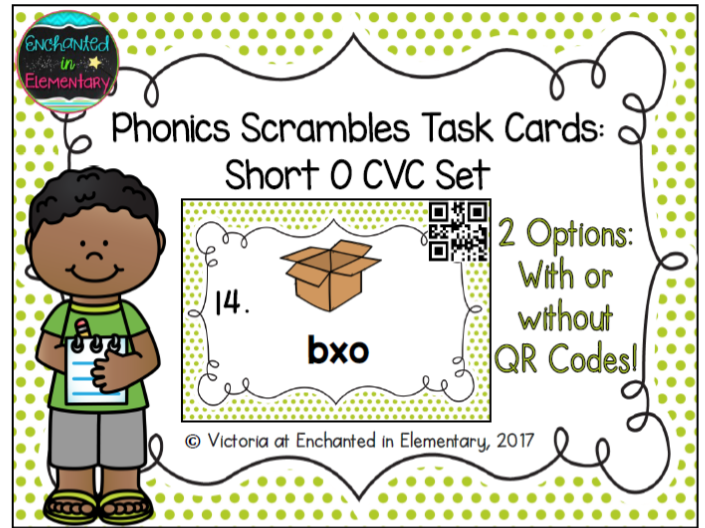Phonics Scrambles Task Cards: Short o CVC Set
