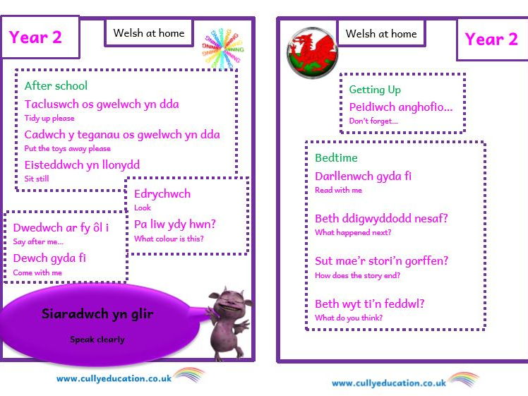 Welsh at home Booklets and Audio files for Parents - Year 2