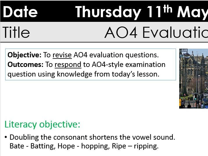 GCSE AO4 'evaluate' lesson with extract and table to select and analyse evidence