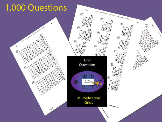 Drill Questions :  Multiplication Grids