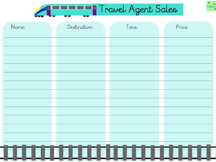 Travel agent sales log