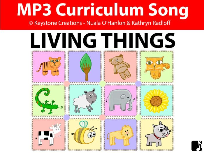 'LIVING THINGS' (Grades Pre K-3) ~ Curriculum Song & Lesson Materials