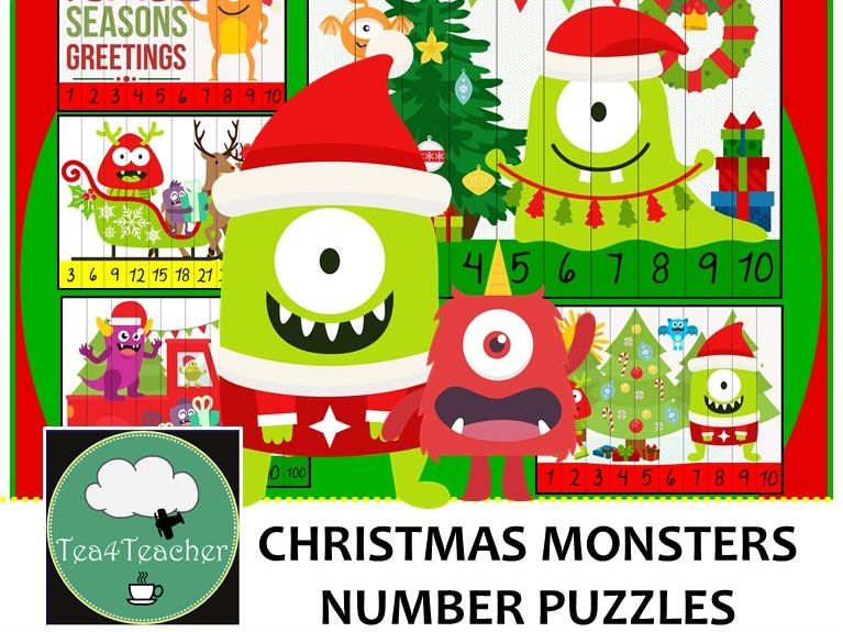 Christmas Monster Number Puzzles - 20 Monster Puzzles 1-10 + Times Tables