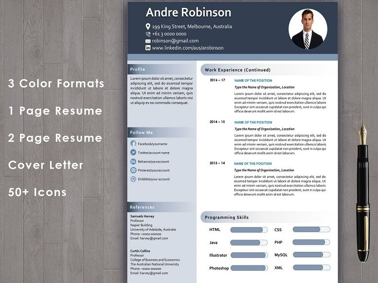 Resume Format for Teachers : Resume with cover letter template editable in word
