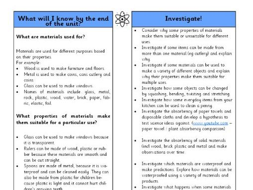 Year 2 Science Materials Overview
