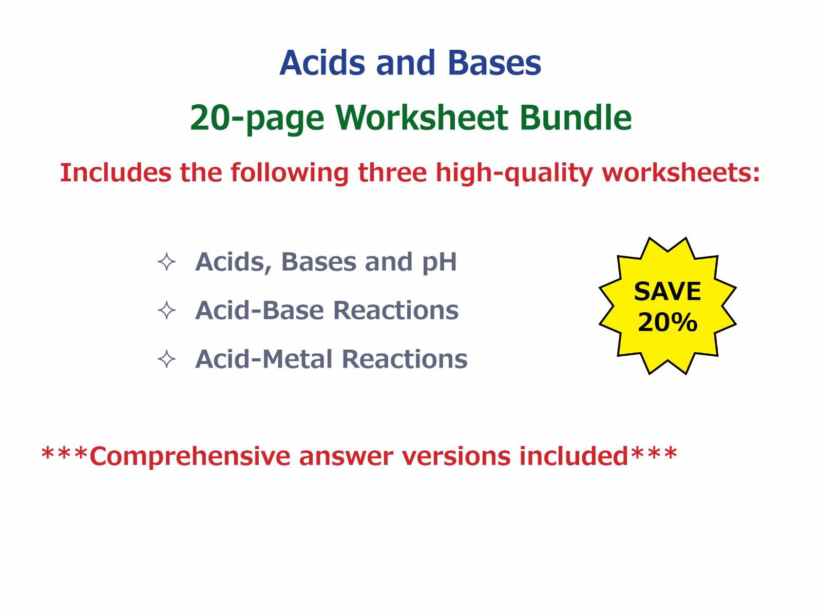 acid base reactions worksheet by goodscienceworksheets teaching