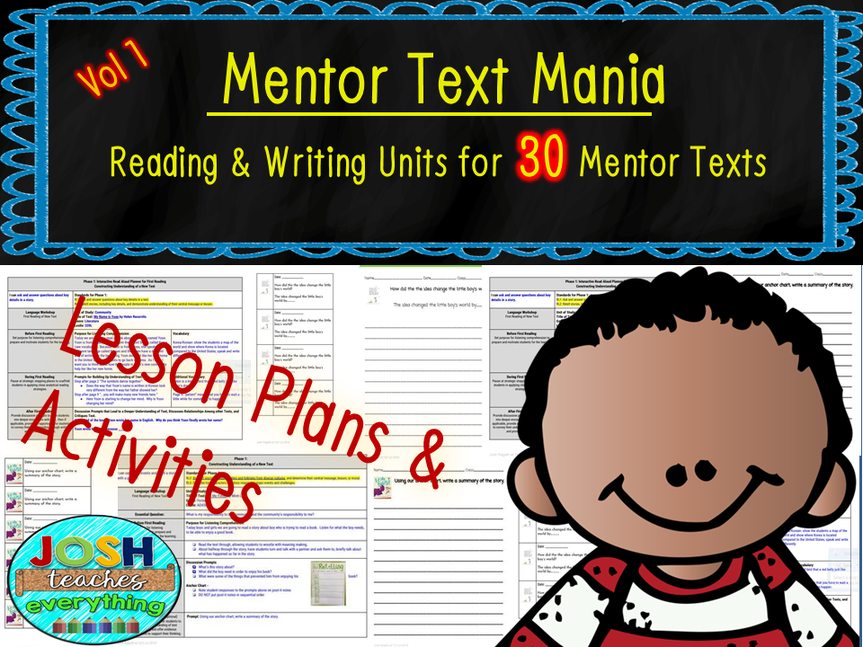 Read Aloud Lesson Plan and Activities Bundle (Mentor Text Mania Vol 1 -30 books)