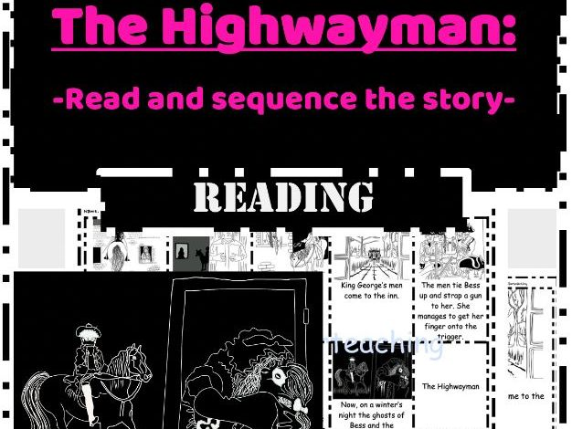 The Highwayman Alfred Noyes reading task - Read & Sequence cut and paste