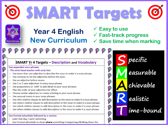 Year 4 SMART Writing Targets New Curriculum