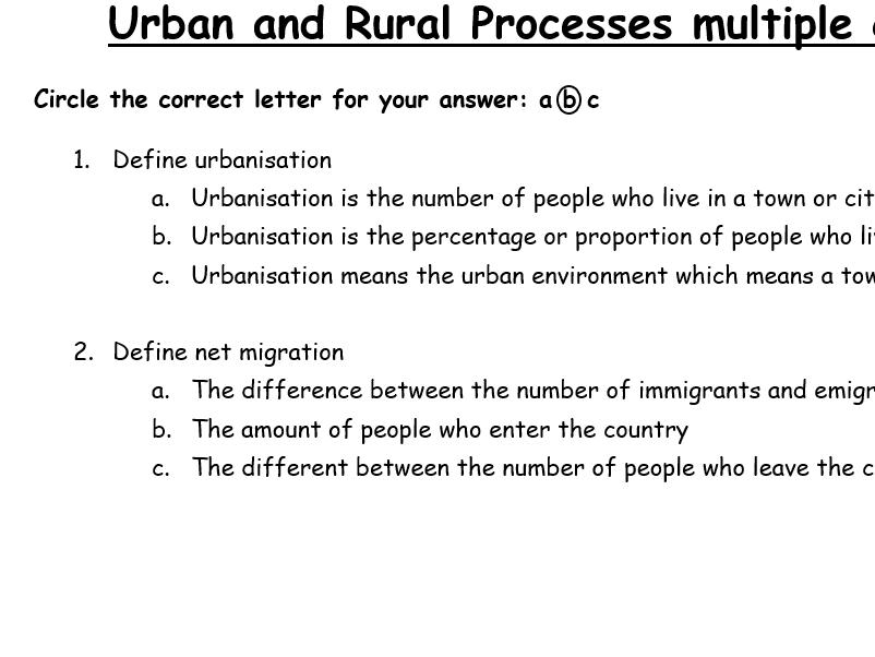 Eduqas Geography B Urban and Rural Processes: multiple choice quiz