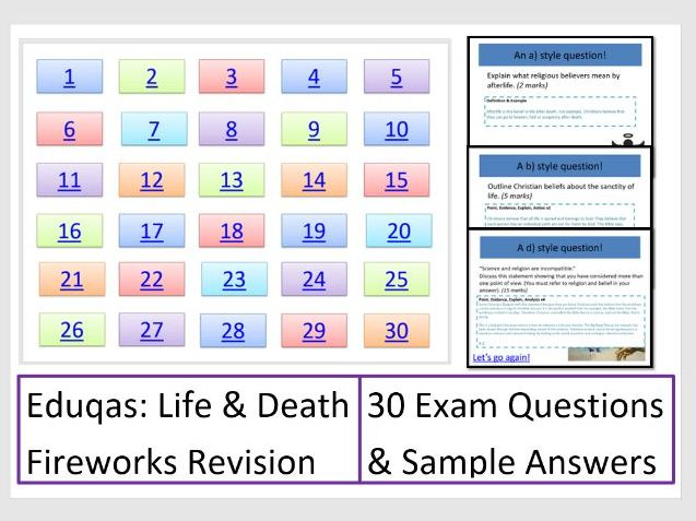 FIREWORKS! Eduqas Life and Death: Exam Question Revision Game