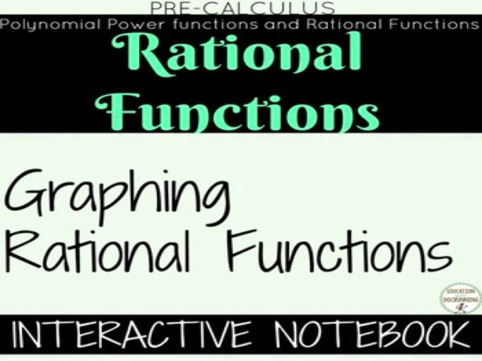 Graphing Rational Functions for Precalculus Color-Coded Interactive Notebook