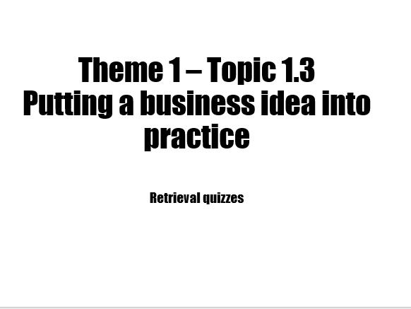 Edexcel Business 9-1 Retrieval quiz 1.3