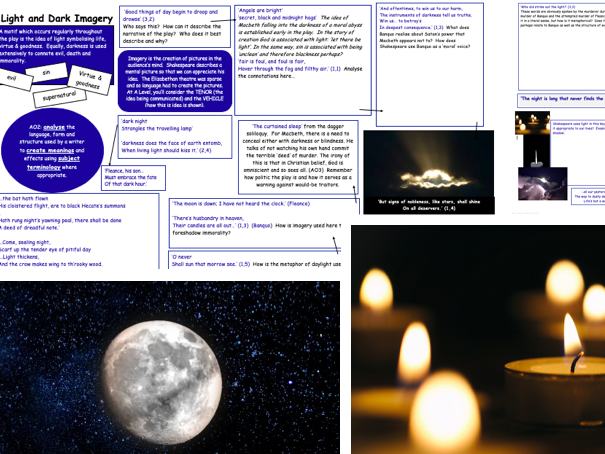 GCSE REVISION A02 / methods Light & Dark Imagery throughout Macbeth (whole text)