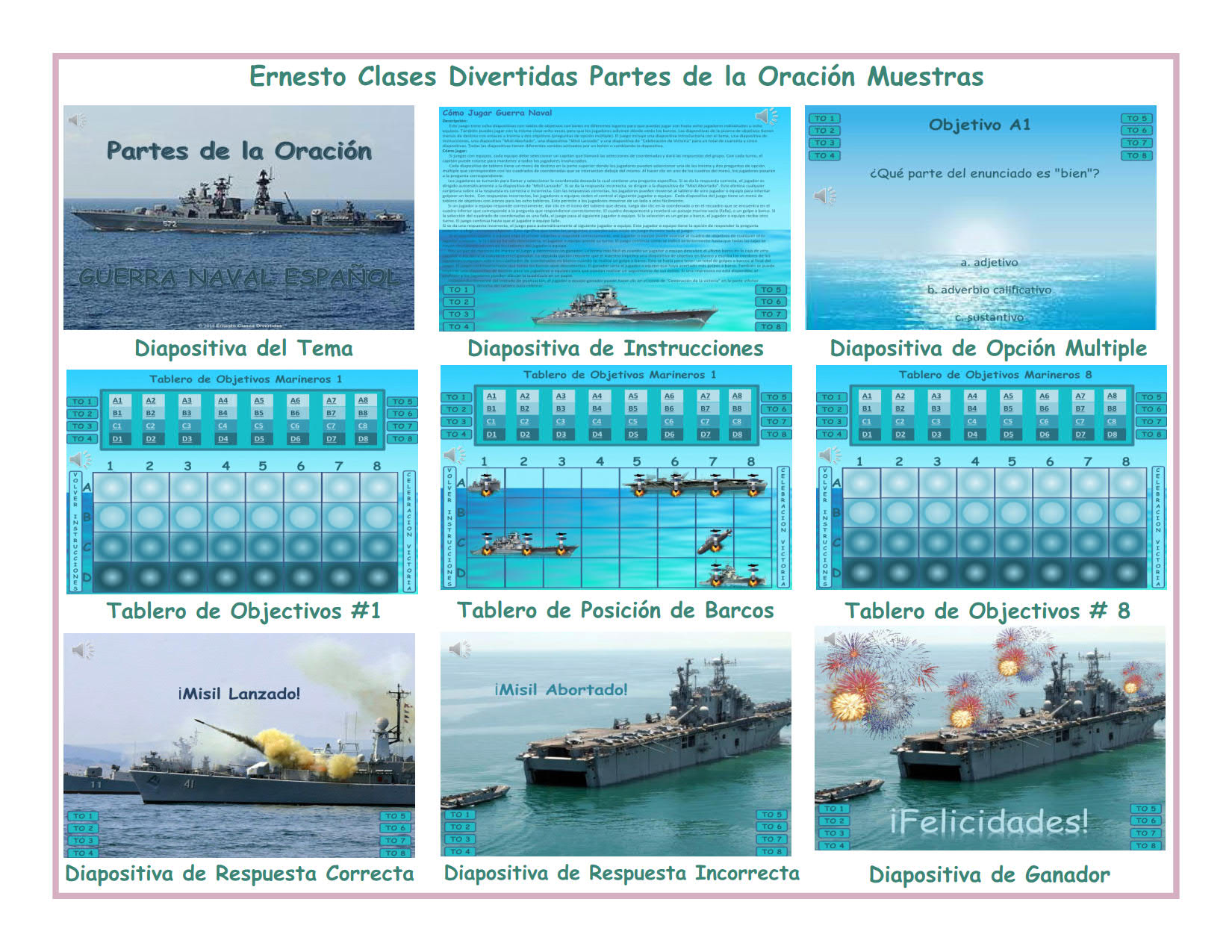 Parts of Speech Spanish PowerPoint Battleship Game