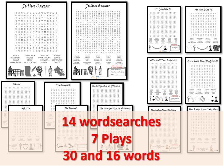 Wordsearches x 14 based on 7 Shakespeare plays - PACK 2