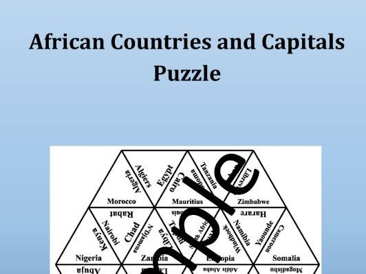African Countries and Capitals - Puzzle