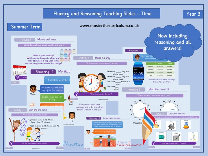 Year 3 - Editable Time Teaching Slides -Maths Measurement - White Rose Style