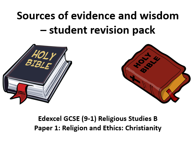 Edexcel GCSE (9-1) Religious Studies B  Christianity sources of wisdom and authority revision pack