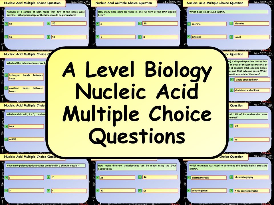 FREE A Level Biology Nucleic Acids Multiple Choice Questions