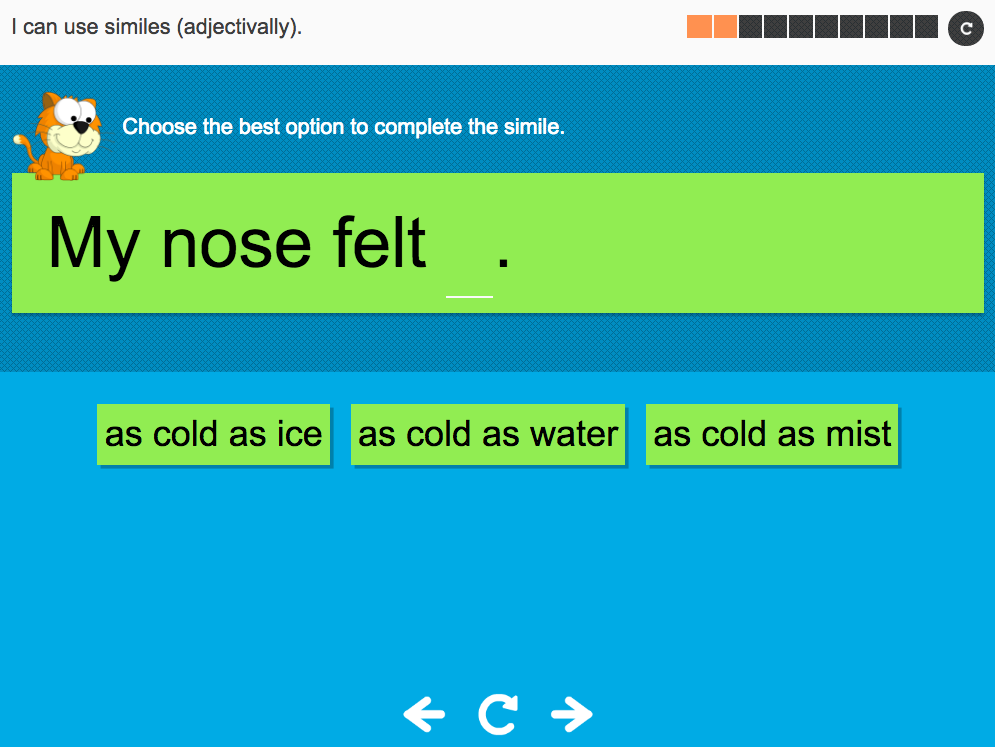 I can use similes (adjectivally) - Interactive Activity - Year 3 Spag